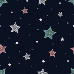 Seamless childish pattern with stars. Abstract night background for christmas card, new year invitation, poster, textile, fabric.