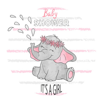 Baby shower girl. Vector illustration with cute baby elephant.
