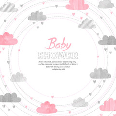 Baby Shower girl invitation card design with watercolor clouds.