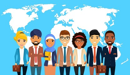Business concept. Businessmen of different ethnic groups, standing against the world map. Asian, Latin American, African, European, Indian, Arab. In flat style. Cartoon.