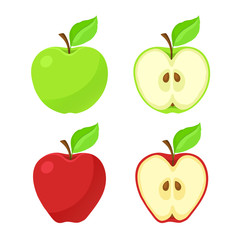 Set of vector illustration of red and green apples and their pieces with stem and leaf