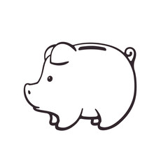 Doodle of piggy bank for cash money in side view