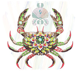 Patterned crab on the watercolor background.
