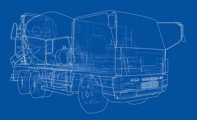 Truck mixer sketch. 3d illustration