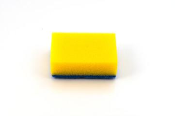 Мягкая губка яркого желтого цвета для очистки поверхностей от загрязнений с тонким слоем абразивного полимера.