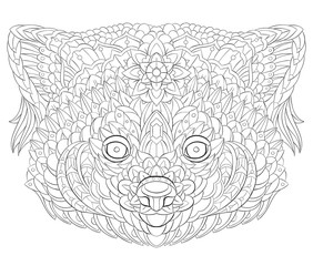 Patterned red panda. Tattoo design. It may be used for design of a t-shirt, bag, postcard, a poster and so on.