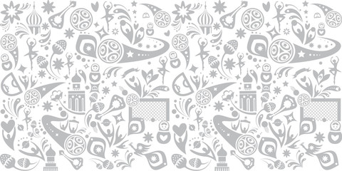 Welcome to Russia seamless pattern doodle print abstract dynamic t-shirt background vector concept, sports, competition, world, cup, award symbols, soccer ball, Russian folk art elements.