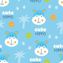 Cute hippo and palms blue seamless pattern