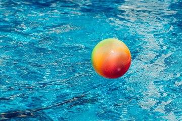 Water polo. Water sports. Ball left in swimming pool.