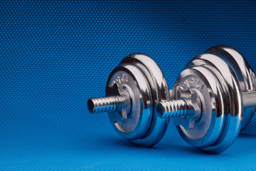 Steel dumbbell and weights. .