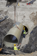 Lifting and installation of big fiber reinforced pipe