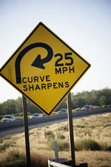 Curve Sharpens, road sign.