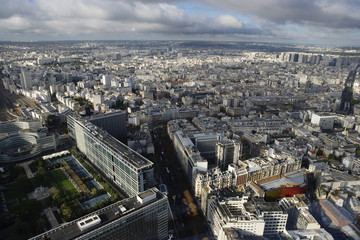 High elevation view of Paris cityscape.