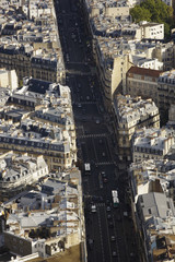 High elevation view of Paris cityscape and roadway.