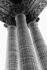 Low angle view of the columns of the Pantheon.