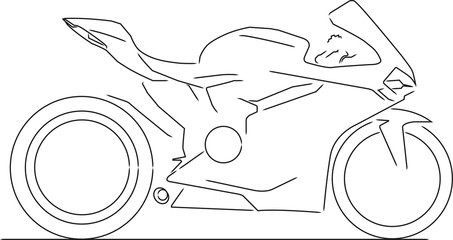Motorcycle line drawing in black and white