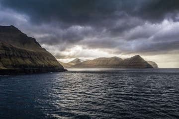 Scenery of fjords at sunset, Faroe Islands, Denmark