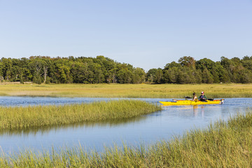 Kayak on Essex River at Cox Reservation in Essex, Massachusetts
