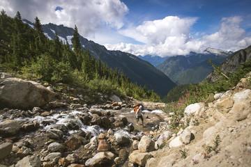 Man hiking across rocky stream on trail towards Boston Basin in North Cascades National Park, Washington State, USA