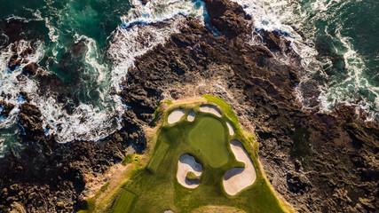 Drone view of the pebble beach golf course California