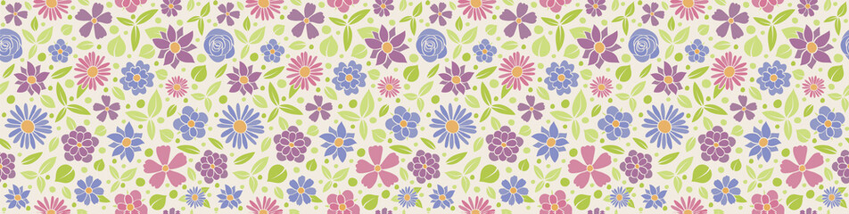 Cute banner with floral pattern - seamless background. Vector.
