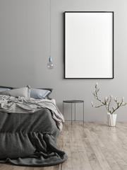 Mock up poster in bedroom, Scandinavian design, sweet dreams, 3d render, 3d illustration