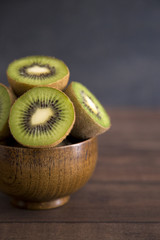 Sliced Kiwi Fruit on a Wooden Table