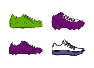 Soccer shoes icon set, color outline style