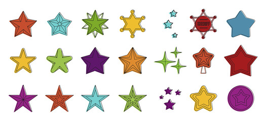 Stars icon set, color outline style