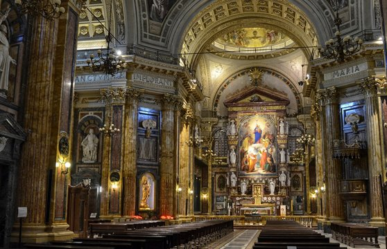 Turin, Italy, Piedmont, April 2 2018. Interior of the Basilica of Mary Help of Christians