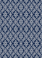 Indigo dye woodblock printed seamless ethnic floral damask pattern. Traditional oriental ornament of India Kashmir,  geometric flowers and ogee molding, ecru on navy blue background. Textile design.