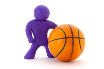 Purple plasticine character and basketball ball. Orange basketball play symbol. Sport icon activity. Isolated on white background