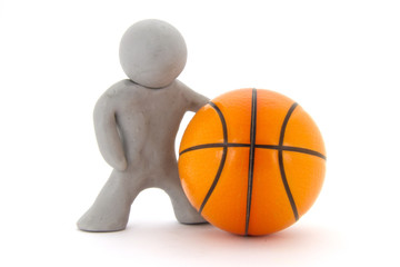 Gray plasticine character and basketball ball. Orange basketball play symbol. Sport icon activity. Isolated on white background