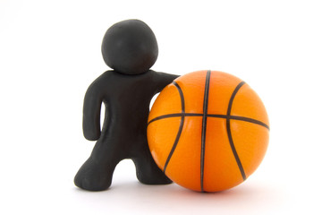 Black plasticine character and basketball ball. Orange basketball play symbol. Sport icon activity. Isolated on white background