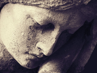 Fototapete - Antique statue of the Virgin Mary praying (religion, faith, holy)