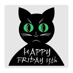 Friday 13th, red banner with black cat silhouette cartoon.