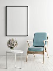 Frame mock up with blue chair, 3d render, 3d illustration