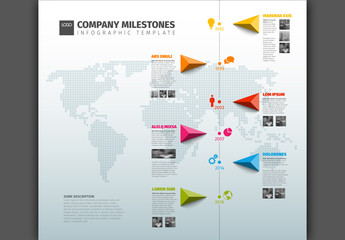 Vertical Timeline Infographic with Gray World Map Background