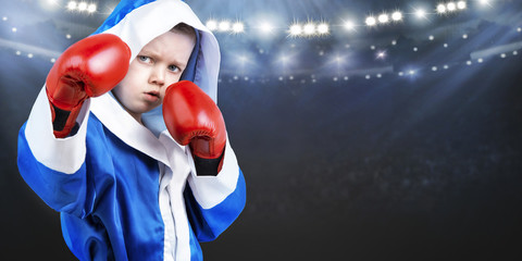 Child boxer in the ring.Little champion.The big wins.