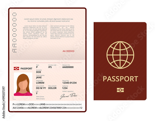 Vector Blank Open Passport Template International Passport With