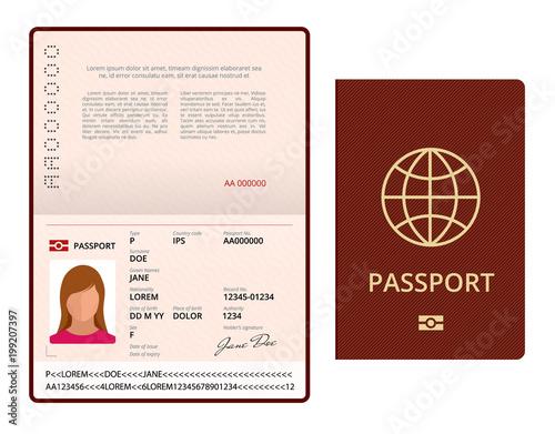 Vector Blank Open Passport Template International Passport With