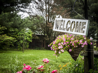 Welcome Sign in the Garden