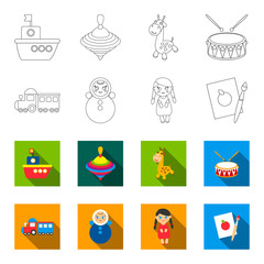 Train.kukla, picture.Toys set collection icons in outline,flet style vector symbol stock illustration web.