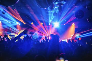 Obraz dj night club party rave with crowd in music festive - fototapety do salonu