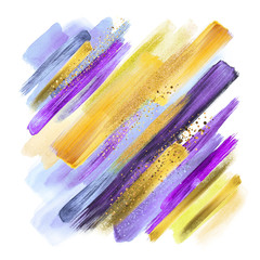 Wall Murals Boho Style abstract watercolor brush strokes isolated on white, gouache paint grungy smear, artistic colors, natural violet purple yellow palette, gold glitter, boho fashion, intricate ethnic background