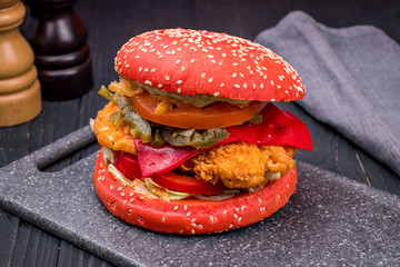 red Burger with chicken