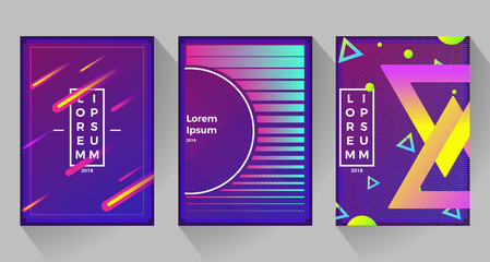 Neon abstract retro backgrounds. With different shapes on poster