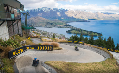 The skyline Queenstown Luge is one of the most famous activity on Queenstown skyline, New Zealand.