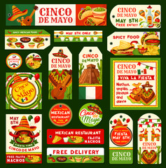Cinco de Mayo Mexican vector fiesta tags