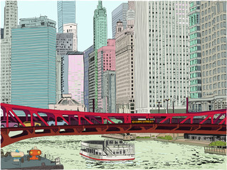 A boat along the Chicago river passes under the Clark Street bridge. Hand drawn vector illustration. Skyscrapers all around.
